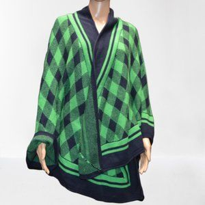NWT Crown & Ivy Green & Blue Checkered Poncho Cape